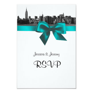 NYC Wide Skyline Etched BW Teal RSVP #2 Card