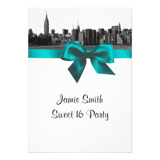 NYC Wide Skyline Etched BW Teal Sweet Sixteen Personalized Invites