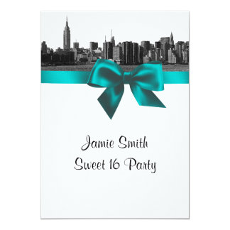"""NYC Wide Skyline Etched BW Teal Sweet Sixteen 5"""" X 7"""" Invitation Card"""