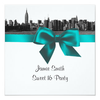 NYC Wide Skyline Etched BW Teal Sweet Sixteen SQ Personalized Invites