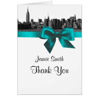 NYC Wide Skyline Etched BW Teal Thank You #2 Card