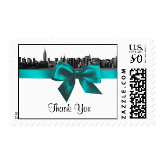 NYC Wide Skyline Etched BW Teal Thank You H Postage