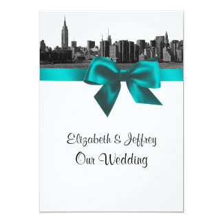 NYC Wide Skyline Etched BW Teal  Wedding Card