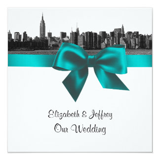 NYC Wide Skyline Etched BW Teal  Wedding SQ Card