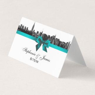 NYC Wide Skyline Etched BW TealWedding Escort Card