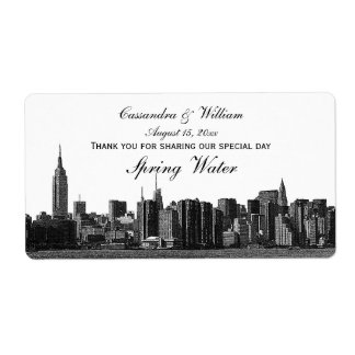 NYC Wide Skyline Etched BW Water Bottle Label