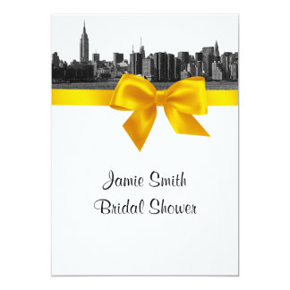 """NYC Wide Skyline Etched BW Yellow Bridal Shower 5"""" X 7"""" Invitation Card"""