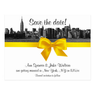 NYC Wide Skyline Etched BW Yellow Save the Date Postcard