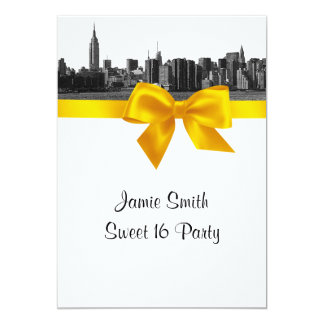 NYC Wide Skyline Etched BW Yellow Sweet 16 Card