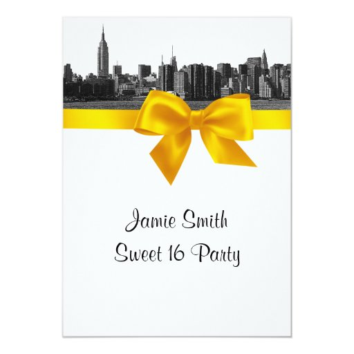 NYC Wide Skyline Etched BW Yellow Sweet 16 Personalized Invitations