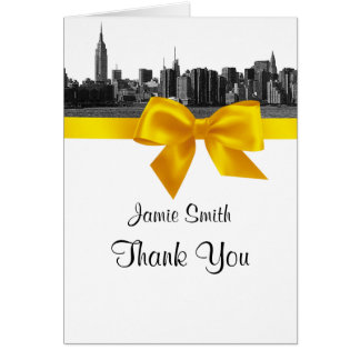 NYC Wide Skyline Etched BW Yellow Thank You #2 Stationery Note Card