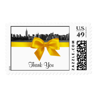 NYC Wide Skyline Etched BW Yellow Thank You H Postage Stamp