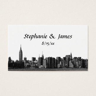 NYC Wide Skyline Etched Escort Cards