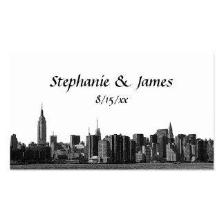 NYC Wide Skyline Etched Escort Cards Double-Sided Standard Business Cards (Pack Of 100)