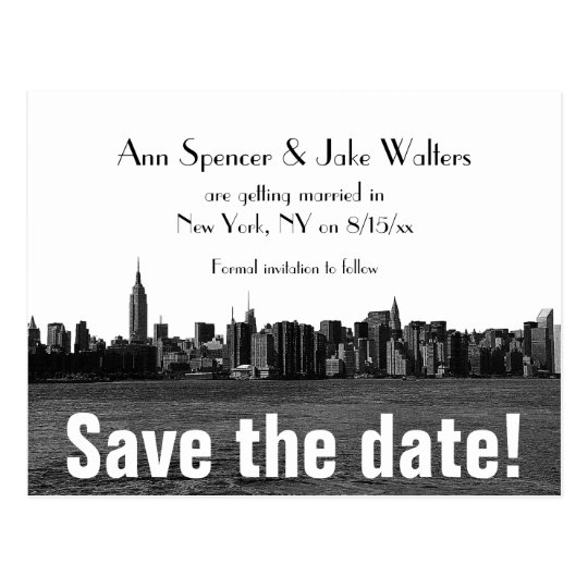 NYC Wide Skyline Etched Save the Date Postcard