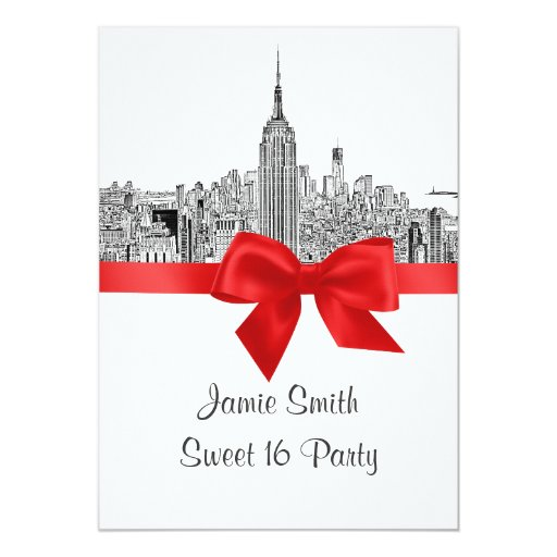 NYC Wide Skyline Etched Sweet Sixteen 5x7 Paper Invitation Card
