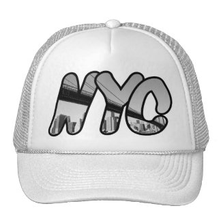 NYC with Brooklyn Bridge At Night Trucker Hat
