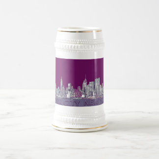 NYC with purple lilac 18 Oz Beer Stein