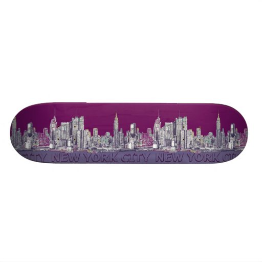 NYC with purple lilac Skate Boards
