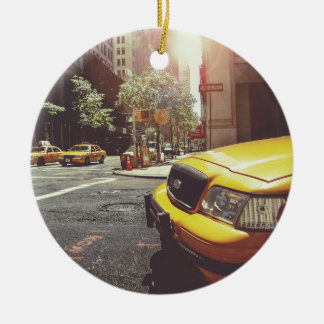 NYC Yellow Cab Double-Sided Ceramic Round Christmas Ornament