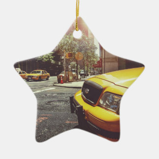 NYC Yellow Cab Double-Sided Star Ceramic Christmas Ornament