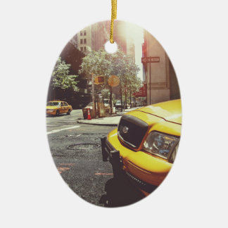 NYC Yellow Cab Double-Sided Oval Ceramic Christmas Ornament