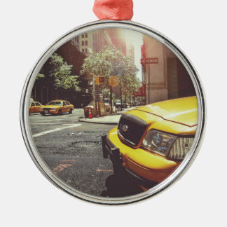 NYC Yellow Cab Round Metal Christmas Ornament