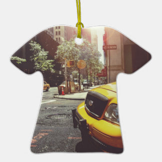 NYC Yellow Cab Double-Sided T-Shirt Ceramic Christmas Ornament