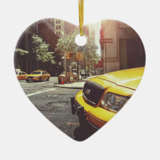 NYC Yellow Cab Double-Sided Heart Ceramic Christmas Ornament