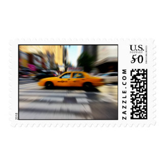 NYC Yellow Taxi Blur Postage Stamp