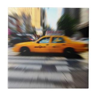 NYC Yellow Taxi Blur Ceramic Tiles