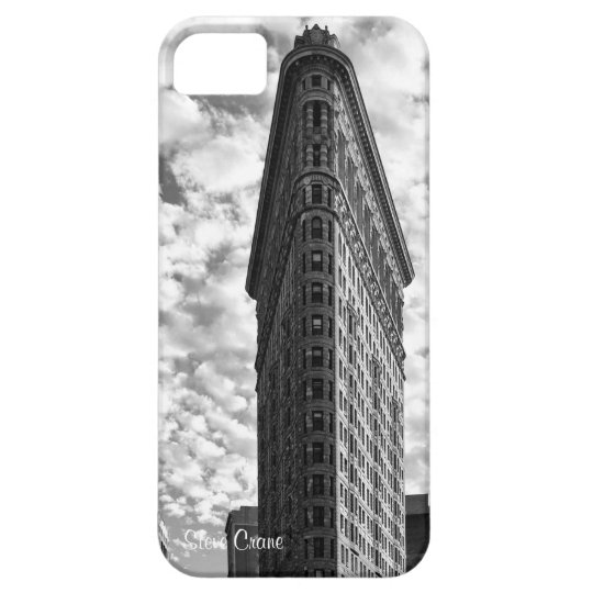 NYC's Flatiron Building, Cotton Ball Clouds BW iPhone SE/5/5s Case