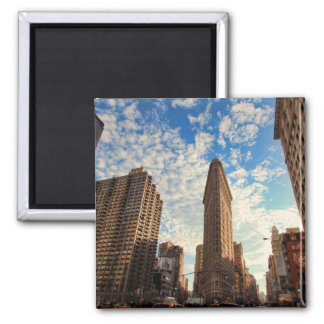 NYC's Flatiron Building, Wide View, Puffy Clouds 2 Inch Square Magnet