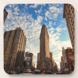 NYC's Flatiron Building, Wide View, Puffy Clouds Coaster