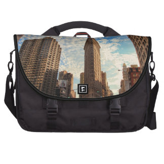 NYC's Flatiron Building, Wide View, Puffy Clouds Laptop Messenger Bag