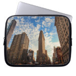 NYC's Flatiron Building, Wide View, Puffy Clouds Laptop Computer Sleeves