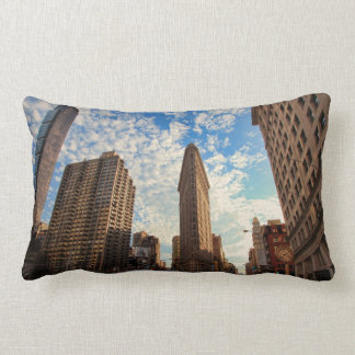 NYC's Flatiron Building, Wide View, Puffy Clouds Lumbar Pillow