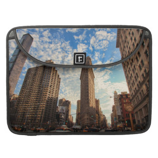 NYC's Flatiron Building, Wide View, Puffy Clouds Sleeve For MacBooks
