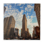 NYC's Flatiron Building, Wide View, Puffy Clouds Ceramic Tiles