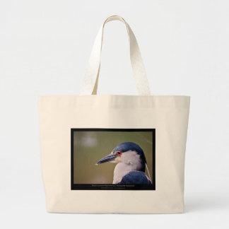 Nycticorax nycticorax - Black-crowned Night-Heron Large Tote Bag