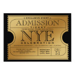 NYE Gold Ticket Party Invitations
