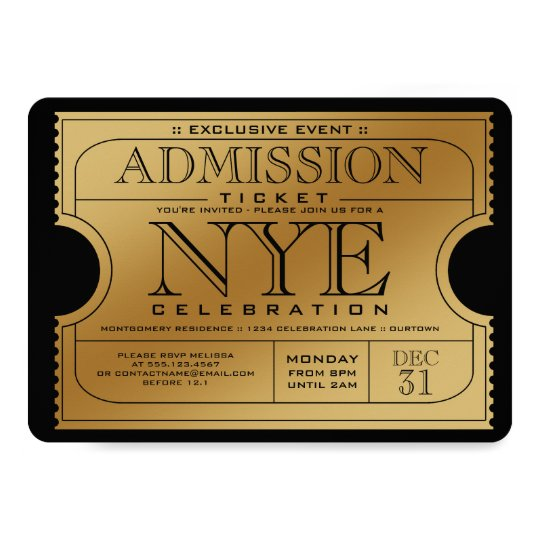 nye gold ticket party invitations zazzle com