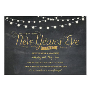 nye new year years eve party gold chalk invite