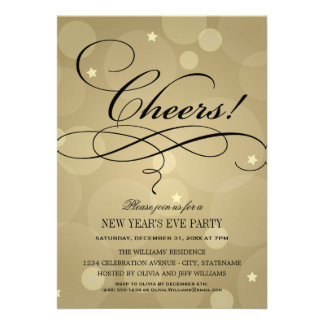 NYE Party Invitations | Champagne Cheers Theme