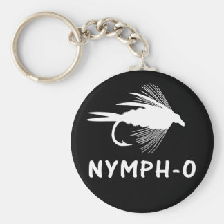 Nymph-O funny fly fishing lure Basic Round Button Keychain