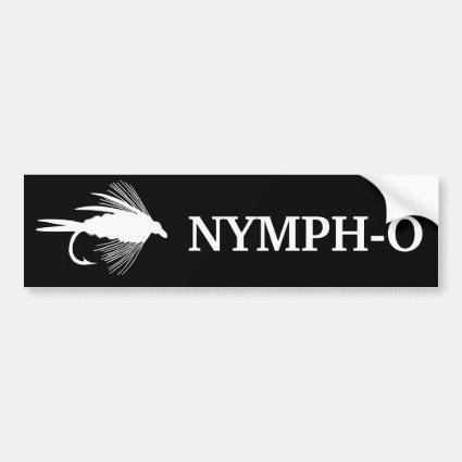 Nymph-O funny fly fishing lure Car Bumper Sticker