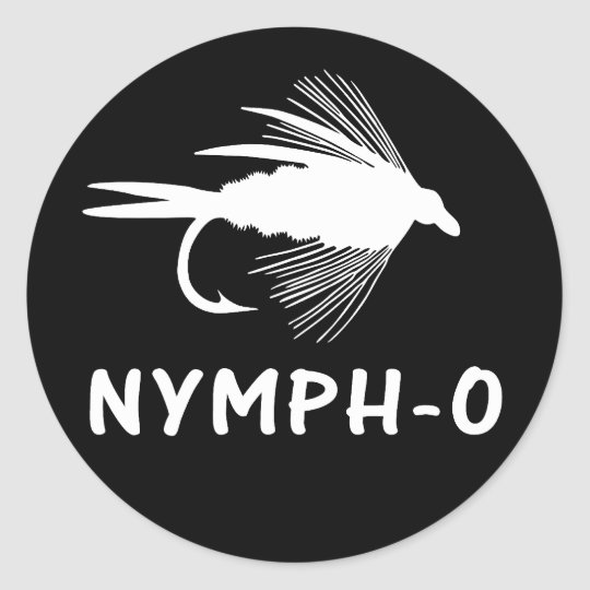 Nymph-O funny fly fishing lure Classic Round Sticker
