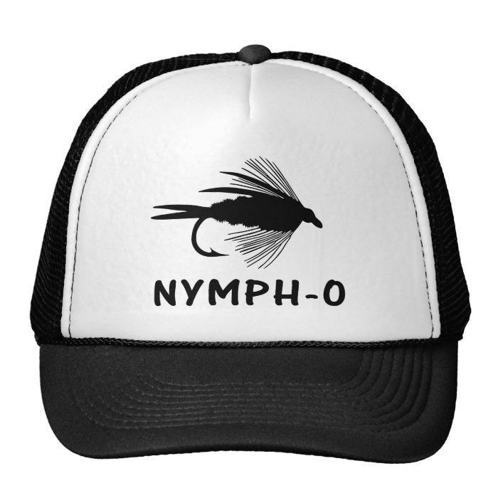 Nymph o funny fly fishing lure trucker hat zazzle for Fly fishing trucker hat