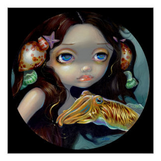 Nymph with a Cuttlefish ART PRINT mermaid fantasy