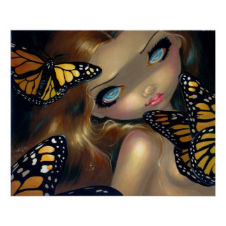 Nymph with Monarchs ART PRINT butterfly fairy